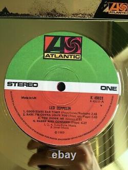 Led Zeppelin I 1968 Custom 24k Gold Vinyl Record In Wall Hanging Frame