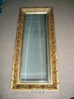 Long Vintage Retro Gold Gilt Ornate Framed Deep Bevelled Wall Mirror 42cm x 18cm