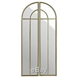 Long WALL MIRROR Set art deco style Arched top metal framed Gold Finish 150cm