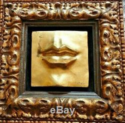 Lot 3 Contemporary ESTATE Sculptured 3-D Wall Pictures Gold LIPS NOSE EAR Signed
