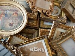 Lot of 14 Vintage Gold Gilt Very Ornate Picture Frames Feature Wall