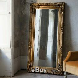 Louis Large Ornate Carved French Frame Wall Leaner Mirror Gold 89 x 175cms