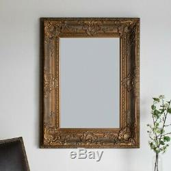Louis Large Ornate Carved French Frame Wall Mirror Antique Gold 130 X 90CMS