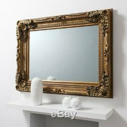 Louis Large Ornate Carved French Frame Wall Mirror Gold 120 X 90CMS