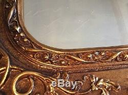 Louis Rococo Large Ornate Carved French Double Frame Wall Mirror