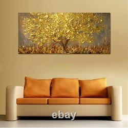 Lovely Gold Tree Abstract Wall Handpainted Oil Painting Canvas For Home Decor
