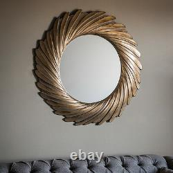 Lowry Unique Aged Gold Radial Design Extra Large Round Wall Mirror 40 Diameter