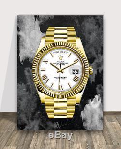 Luxury Gold Wall Canvas Print Office Decor Home Decor Modern Art Pop Arts Rolex
