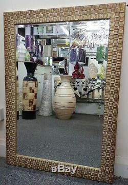 (M017) Gold/Bronze Brushed Finished Wooden Framed Wall Mirror 107cmx76cm