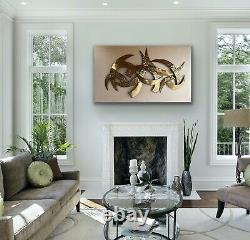 METAL CONTEMPORARY WALL ARTWORK HAND FINISHED AND MOUNTED LARGE 120 x 70cm