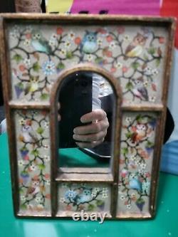 MIRROR OWL WALL FRAME -Vintage Hand Made By Urquizo, Peru. RARE ITEM. AU SELLER