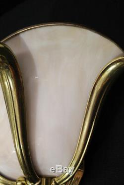 Matching Pair of Vintage Rose Glass with Gold Frame 3 Petal Wall Sconces (a)