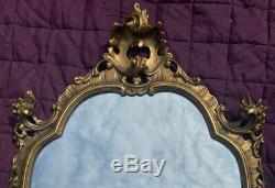Medium Size Vintage Gilt Ornate Wall Hanging Mirror