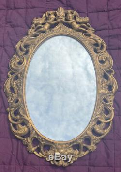 Medium Size Vintage Gilt Ornate Wall Hanging Mirror. Frame Cherubs & Crown