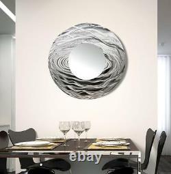 Metal Wall Mirror Art ULTRA MODERN Abstract Silver Mirror Original By Jon Allen