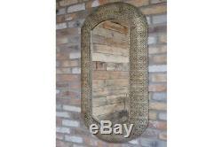 Metal framed elegantly detailed bevelled edge large wall mirror 122cm x 70cm