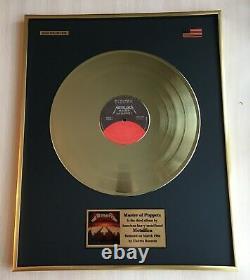 Metallica Master Of Puppets 1986 Custom 24k Gold Vinyl Record in Wall Frame
