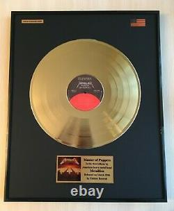 Metallica Master Of Puppets Custom 24k Gold Vinyl Record in Wall Hanging Frame