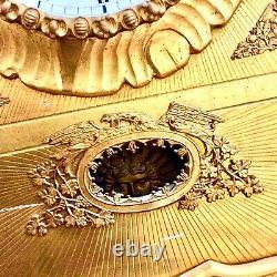 Mid 19th Wall Clock Austrian German Gold Frame Gilt Eagle Sun Pendulum Relief