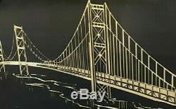 Mid Century Framed Wall Art GOLDEN GATE BRIDGE San Francisco Ca MCM Jere era
