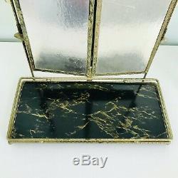 Mid Century Triple Vanity Shaving Mirror Table Wall Gold Metal Hollywood Regency