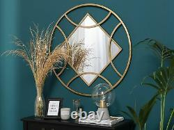 Minimalist Glam Gold Metal Round Frame Wall Mounted Mirror Square Tanna