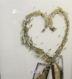 Mirror Frame Champagne Glasses Glitter Liquid Crystal Glass Wall Art 100x60cm