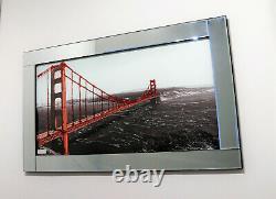 Mirror Frame Golden Gate Bridge Glitter Liquid Crystal Glass Wall Art 100x60cm
