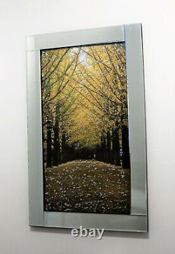 Mirror Frame Tree Path with Glitter Liquid Crystal Glass Wall Art 100x60cm