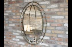 Mirror with Shelf Gold Wall Mirror Industrial Metal Frame