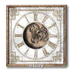 Mirrored Square Framed Clock With Moving Mechanism = Put On The Wall In The Home