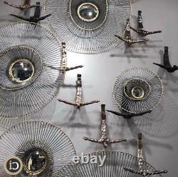 Modern Floating Open Wire Frame Wall Mirror 29 in Gold Silver Circles Metal