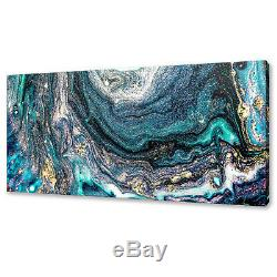 Modern Gold Blue Abstract Acrylic Painting Style Canvas Print Wall Art Picture