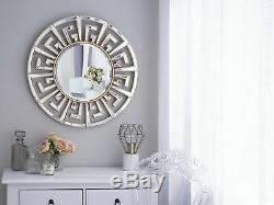 Modern Round Wall Mirror Gold Frame Greek Key Living Room Hallway Flers