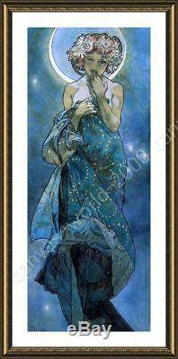 Moon by Alphonse Mucha Framed canvas Wall art artwork poster print HD