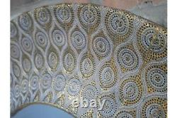 Moroccan Round Wall Mirror Ornate Gold and Grey Metal Large Circle Frame 93cm