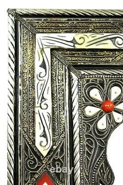 Moroccan Wall Mirror Large Authentic Home Decor Handmade Silver Brass White Red