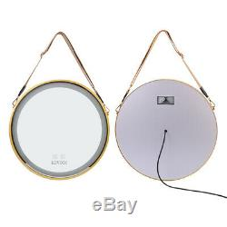 Multifunction Gold Round Frame Bathroom Glass Wall Mounted LED Vanity Mirror