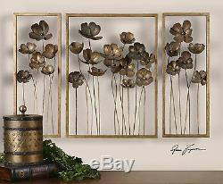 New Large 40 Forged Gold Leaf Metal Tulip Flower Modern Wall Art Sculptures