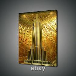 New York Golden Hall Of Empire State Photo Canvas Print Wall Art Picture