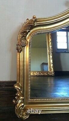Ntique Gold Ornate French Statement Period Over mantle Scroll Arch Wall Mirror