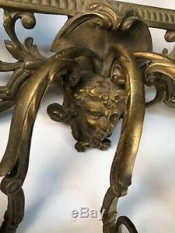 OLD Gothic Satyr Hanging Wall Mirror Frame Candle Holder Golden Colored Metal