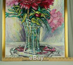 Oil Painting Flowers Pink Peonies Gold Leaf Framed Home Wall Decor Floral
