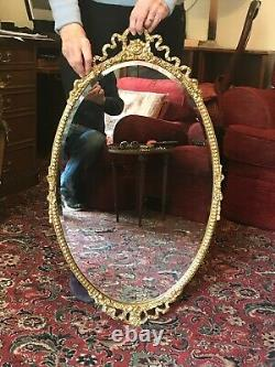 Old Antique Oval Bevelled Wall Mirror Gold Decorated Gesso French Style Frame