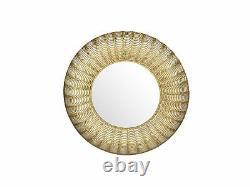 Oriental Glamour Round Wall Mirror 77 cm Decorative Metal Frame Gold Godhra