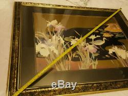 Oriental Large Oil Painting Nature Wall Art Picture Signed Bird Gold Frame 142cm