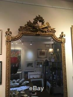 Original Antique Large Wall Mirror With Gilt Gold Frame