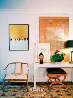 Original golden leaf painting framed canvas, decor, modern wall art contemporary