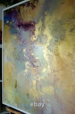 Original painting Sunny Day Fluid art Abstraction Gold Large Wall contemporary