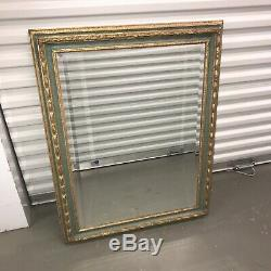 Ornate Bevelled Edge Mirror Gold & Green Wooden Frame Antique Style Wall